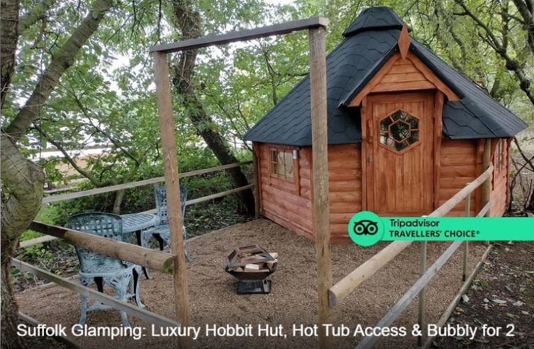 Suffolk Glamping: Luxury Hobbit Hut, Hot Tub Access & Bubbly for 2