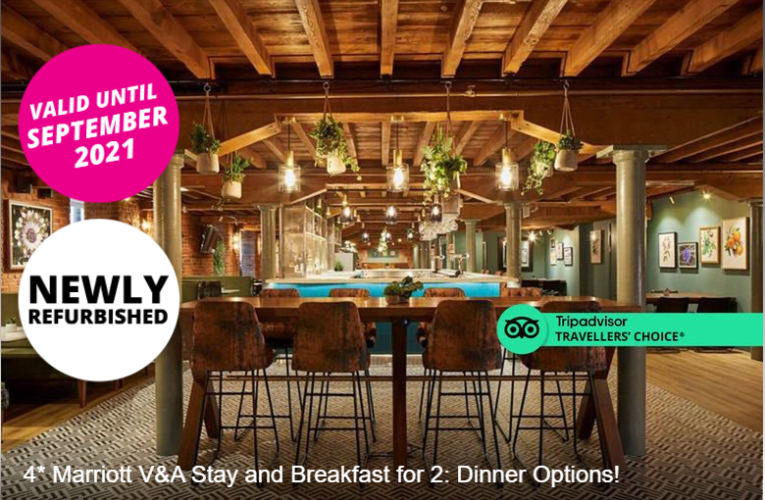 4* Marriott V&A Stay and Breakfast for 2: Dinner Options!
